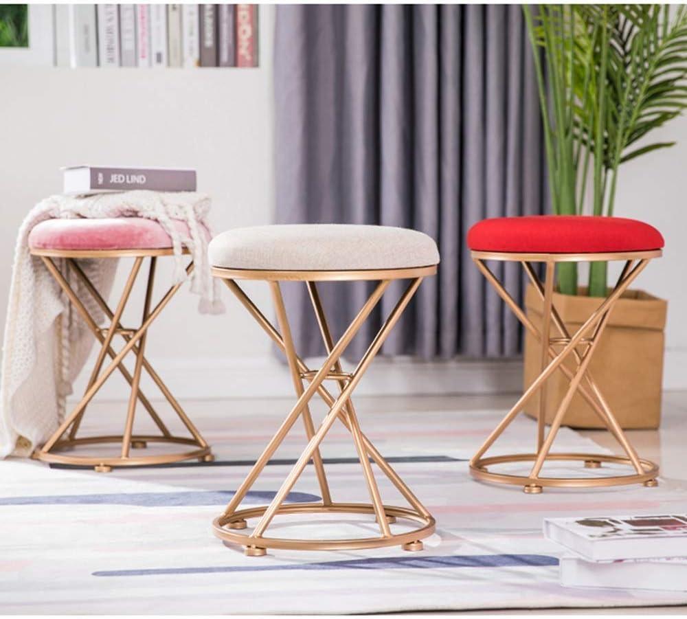LYF Tabouret Nordic Iron, Chaise de Maquillage, Banc à Chaussures Change, Repose-Pieds, Tabouret de canapé, Repose-Pieds Pink