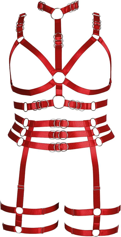 Plus Size Plump Garter Belt Set Full Body Harness for Women Lingerie cage Punk Large Size Festival Rave Gothic Bra Halloween