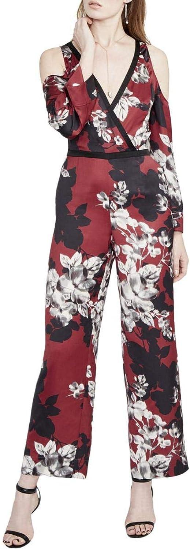 Rachel Rachel Roy Womens Floral Print Cold Shoulder Jumpsuit Purple 8
