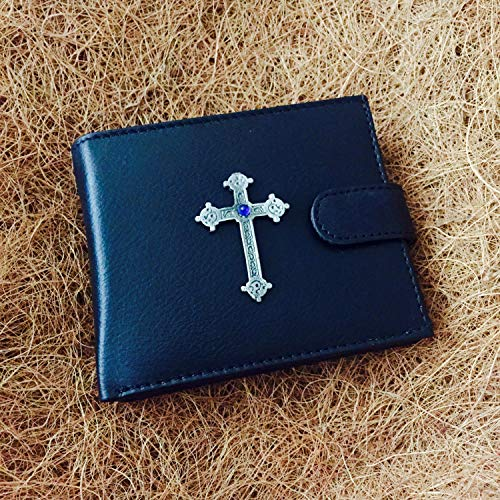 Really Useful Gifts Antique Pewter Celtic Cross with Blue Stone Emblem on a Cow Hide Leather Money Wallet Credit Card Holder Gift