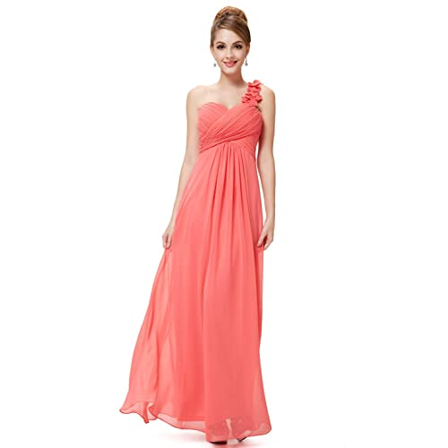 Ever-Pretty Flower One Shoulder Empire Waist Floor Length Bridesmaids Dress  09768 c79246bfed57