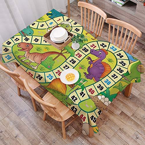 Tischdecke abwaschbar 140x200 cm,Brettspiel, niedliche Dinosaurier Dschungel Ziffer Wellenlinie prähistorische Fauna Wildlife Zusamm,Ölfeste Tischdecke, geeignet für die Dekoration von Küchen zu Hause