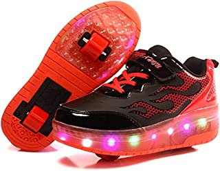 stay real LED Light Up Single/Double Wheel Roller Skate Fashion Sports Flashing Sneaker Boys