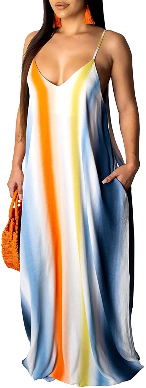 HannahZone Women's Casual Sexy Summer Stripe Loose Maxi Dresses Floor Length Sleeveless Plus Size Sundresses with Pockets