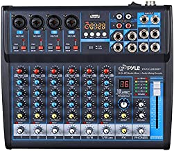 Professional Audio Mixer Sound Board Console Desk System Interface 8 Channel Digital USB Bluetooth MP3 Computer Input 48V Phantom Power Stereo DJ Studio FX 16Bit DSP Processor Pyle PMXU83BT
