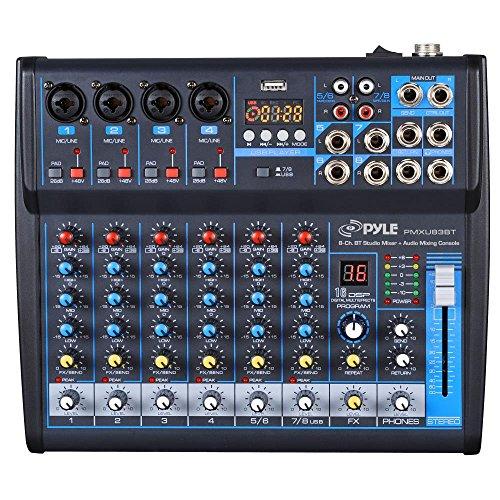 Professional Audio Mixer Sound Board Console Desk System Interface 8 Channel Digital USB Bluetooth MP3 Computer Input 48V Phantom Power Stereo DJ Studio FX 16Bit DSP Processor Pyle PMXU83BT