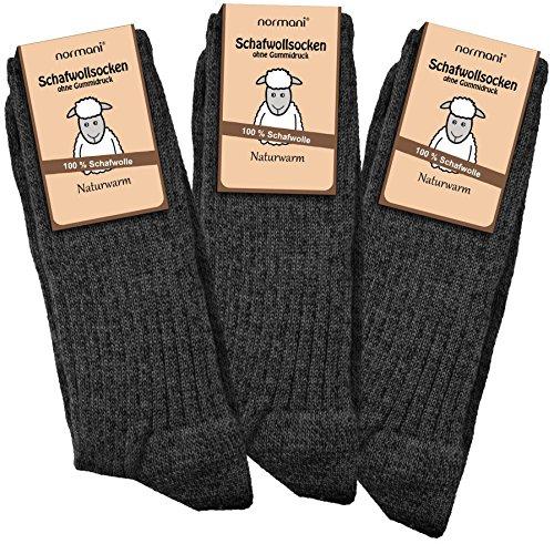 normani 3 Paar Schafwollsocken 100% Schafwolle Norwegersocken Gr. 35-50 Farbe Anthrazit Größe 39/42