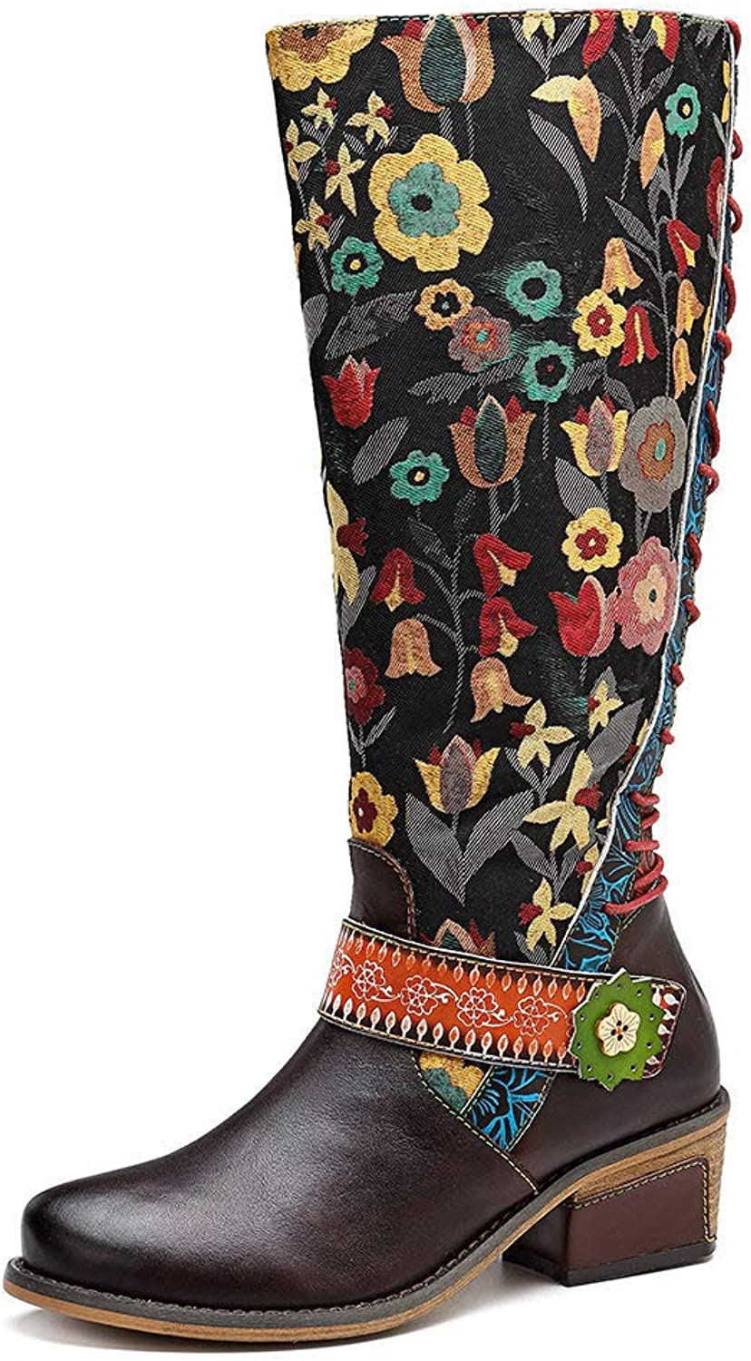 Women's Casual Vintage Genuine Leather Hand-Painted Knee-high Boots, Comfortable and Breathable Side Zipper Women's Boots