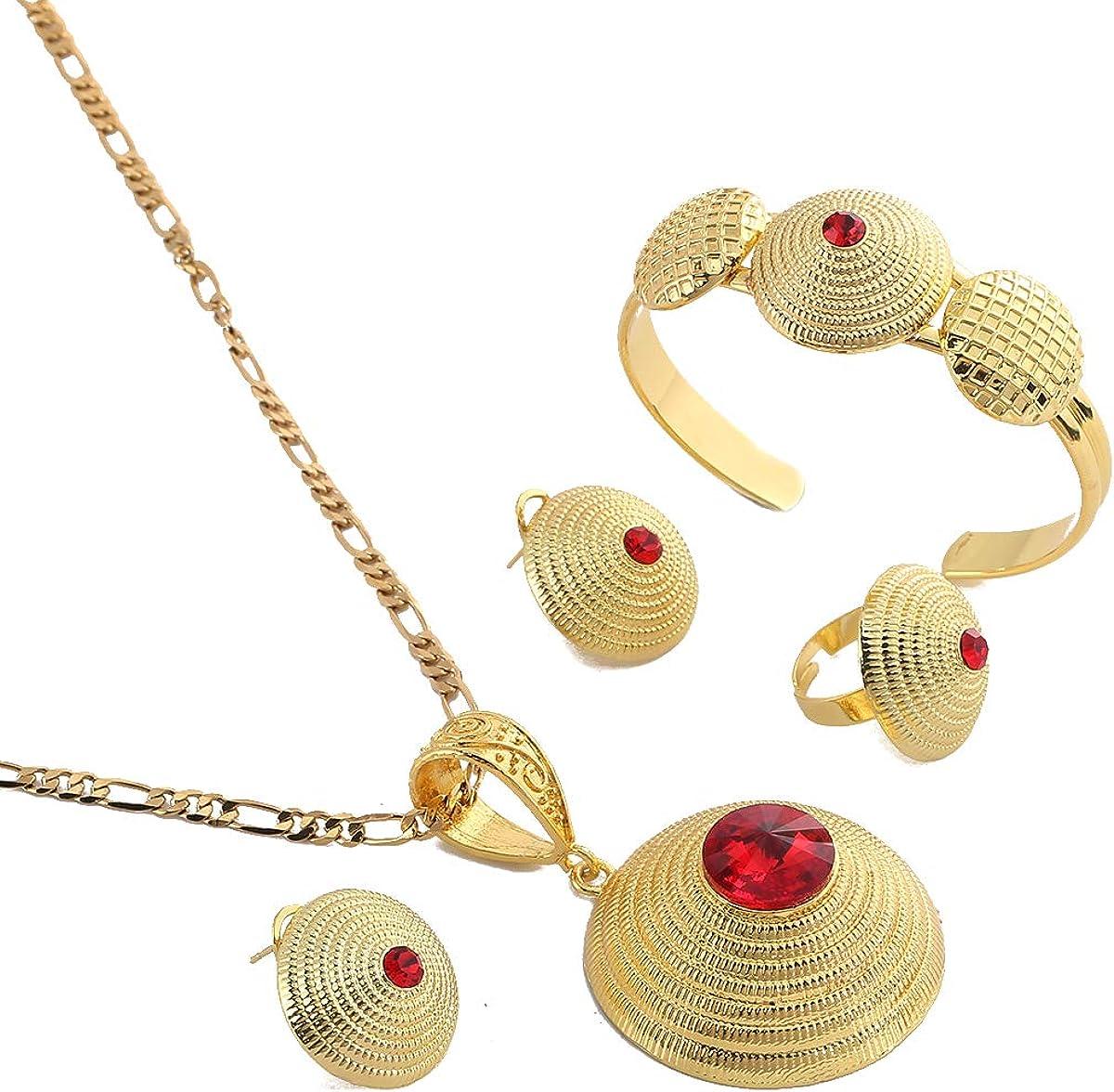 Ethiopian Jewelry Set Necklace Earrings Ring Bangle Pendant Eritrea Africa Habesha Wedding Jewelry