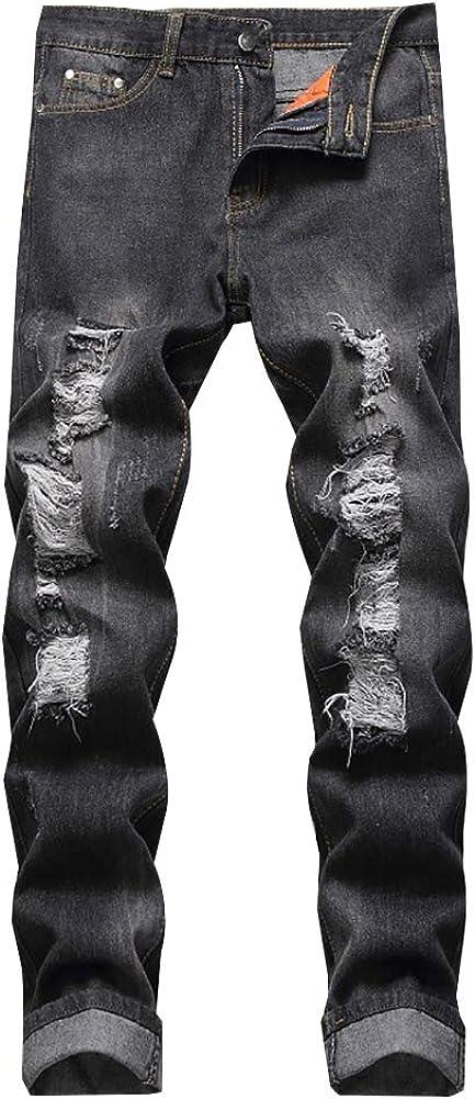 LONGBIDA Men's wholesale Ripped Distressed New product Destroyed Slim Fit Straight Leg