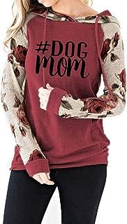 Winsummer Women's Dog Mom Letter Printed Hoodies Pullover Tops Long Sleeve Drawstring Hooded Sweatshirt with Pocket