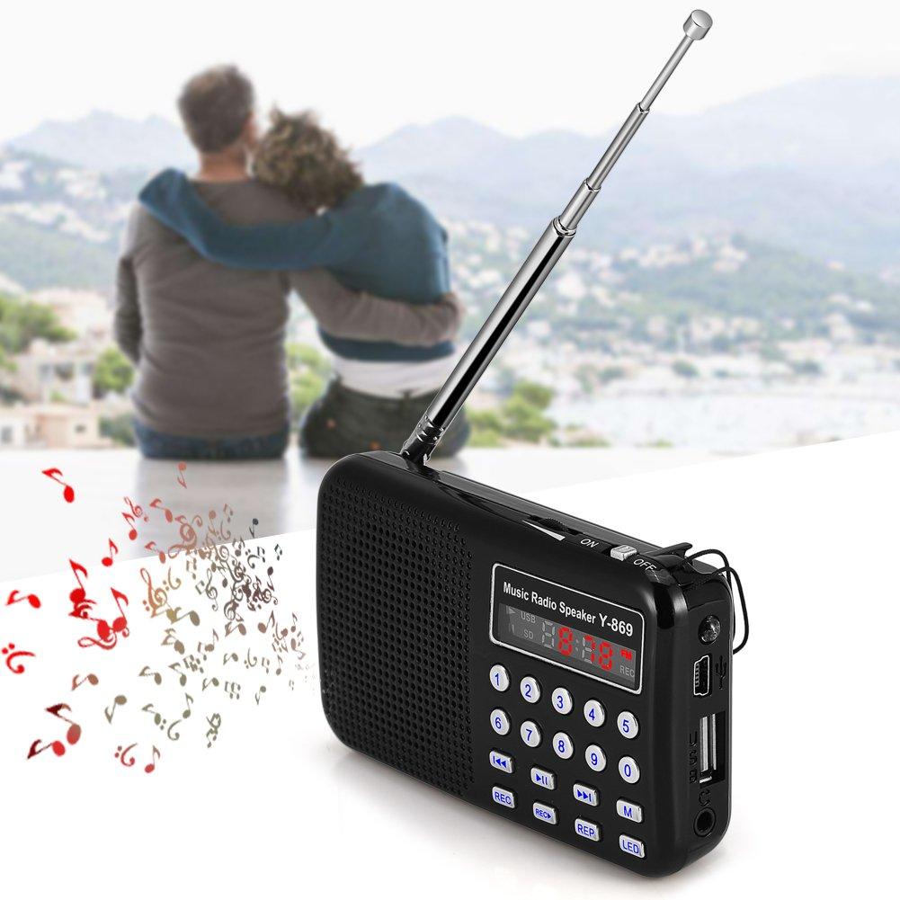 Richer-R Mini Radio FM/Altavoz Portátil con Linterna LED,Reproductor Música Audio para Pasear en la Noche(Negro): Amazon.es: Electrónica