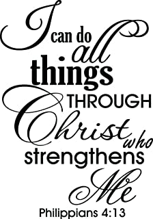 Ideogram Designs (16x23) I can do All Things Through Christ who Strengthens me Philippians 4:13. Vinyl Wall Decal Decor Quotes Sayings Inspirational Wall Art