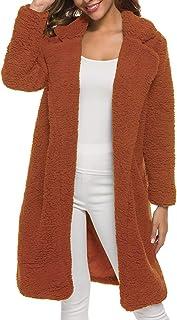 Yczx Long Faux Fur Coat Womens Thick Warm Teddy Bear Fleece Jackets Trench Coats Open Front Overcoat Warm Lapel Elegant Wi...