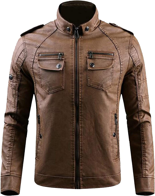 d042d54072b XQS Men's Vintage PU Leather Leather Leather Jacket Stand Collar Pu Leather  Jacket Casual Motorcycle Jacket Coat 64cff8