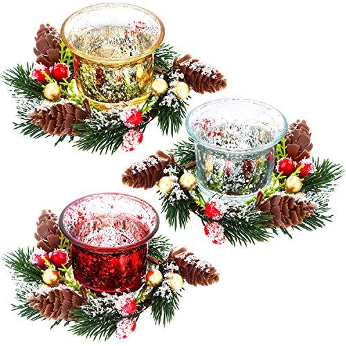 3 Sets Christmas Votive Candle Holder with Snowy Pinecone Berry Candle Rings 3 Colors Glass Tealight Candle Holder with Christmas Decorative Mini Wreath Candle Holder Stand, Excluding Candles