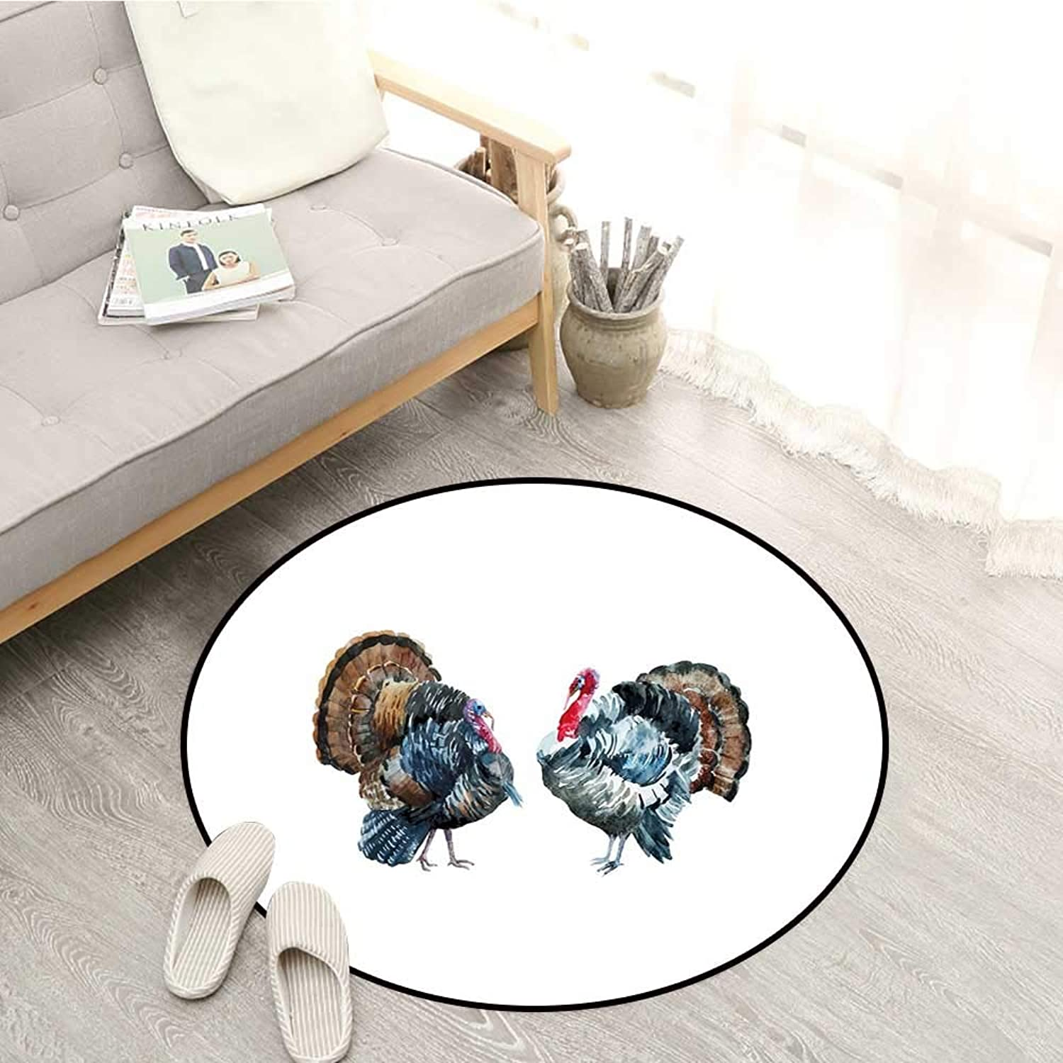 Turkey Skid-Resistant Rugs Watercolor Poultry Animals Brush Stroke Effect Agriculture Elements Birds Design Sofa Coffee Table Mat 3'11  Multicolor