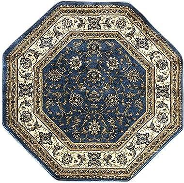 Deir Debwan - Alfombra tradicional octágono persa de 330.000 puntos oriental, diseño floral, color azul claro, beige, marfil,