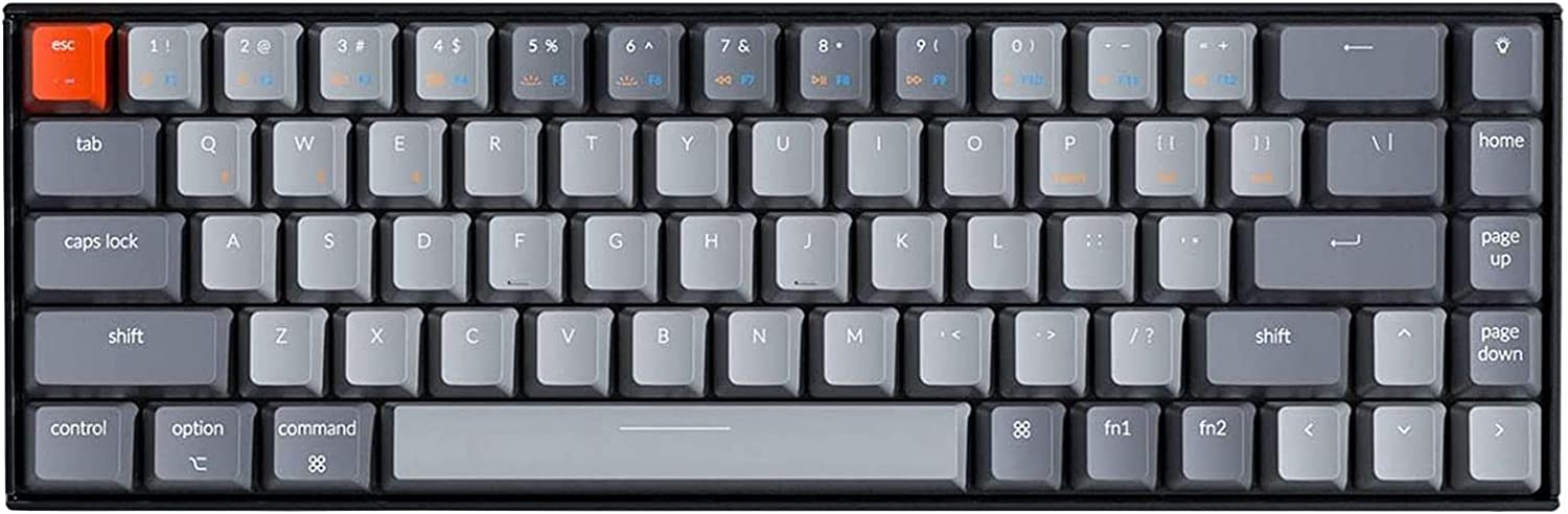 Keychron K6 Bluetooth 5.1 Wireless Mechanical Keyboard with Gateron Brown Switch/LED Backlit/Rechargeable Battery, 68 Keys Compact Keyboard Compatible with Mac Windows