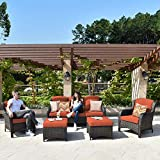 XIZZI Patio Furniture Sets, Outdoor Furniture,All Weather Wicker Patio Set (5PCS, Red)