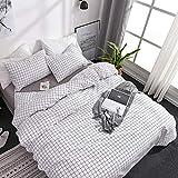 OLDBIAO - Juego de ropa de cama a cuadros, funda nórdica de 135 x 200 cm con cremallera, microfibra suave, color blanco a cuadros con funda de almohada de 80 x 80 cm, para niños y mujeres