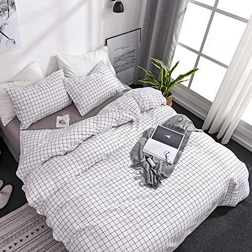 OLDBIAO Bettwäsche-Set 2tlg, Kariert Bettbezug 135x200cm Schwarz Weiß Soft Mikrofaser Karo mit 80x80cm Kissenbezug für Kinder Damen Wendebettwäsche