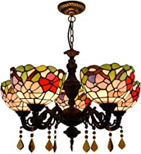 Chandelier European Creative Tiffany Stained Glass Lighting Living Room Dining Room Bedroom Bar Pastoral Red Festive 5 Hea...
