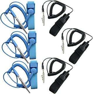 ESD Anti-Static Wrist Strap Components, DaKuan 6 Packs Anti-Static Wrist Straps Equipped with Grounding Wire and Alligator...