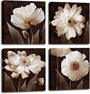 Canvas Wall Art Contemporary Simple Life White Flowers Floral Canvas Painting Pictures for Home Bedroom Decor - 4 Panels Framed Artwork Canvas Prints Brown Giclee Poster for Living Room Bathroom Decor