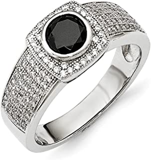 ICE CARATS 925 Sterling Silver Cubic Zirconia Cz Black Spinel Mens Band Ring Size 11.00 Fine Jewelry Gift For Dad Mens For...