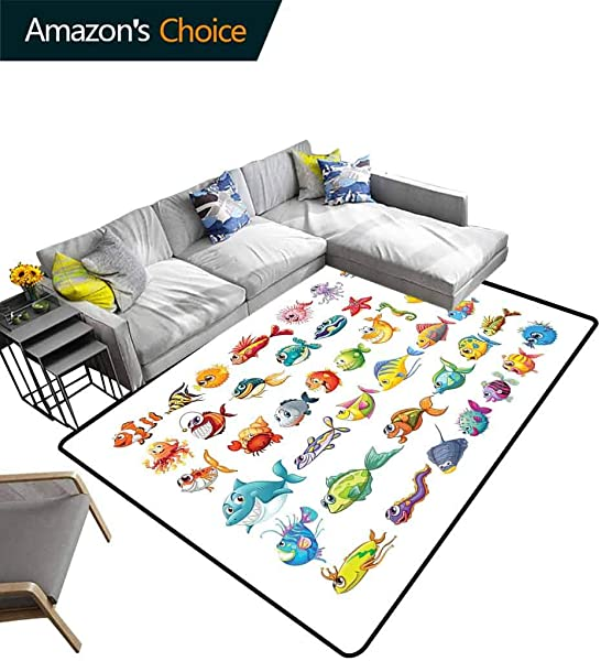 Fish Patchwork Runner Rugs Collection Of Sea Creatures Cartoon Style Vivid Colors Happy Fish Lined Up Abstract Durable Rugs Living Dinning Office Rooms Bedrrom Hallway Carpet 2 5 X 9