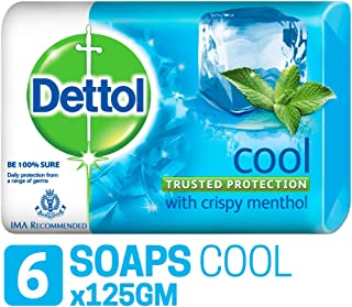 Dettol Bathing Soap Cool, 125gm, Pack of 6