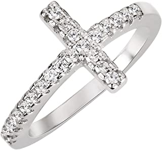 Cubic Zirconia Christian Sideway Cross Ring Sterling Silver (Color Options, Sizes 3-15)