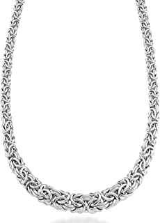 925 Sterling Silver Italian Graduated Byzantine Chain Necklace for Women, 17, 18, 20 Inch Handmade in Italy