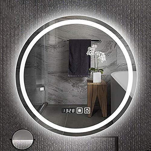 GETZ Espejo de baño LED redondo iluminado luz LED baño espejo de tocador de maquillaje inteligente, interruptor de sensor táctil, luz blanca 6500 K, varios tamaños
