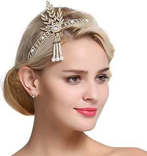 FAIRY COUPLE 1920s Flapper Great Gatsby Leaf Bridal Tiara Pearl Headpiece Headband