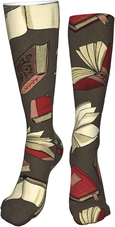Books Women Premium High Socks, Stocking High Leg Warmer Sockings Crew Sock For Daily And Work