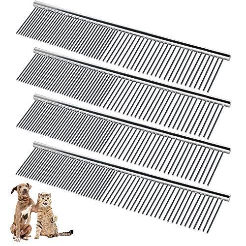 Chudian 4 Pezzi Pettine per Animali Domestici Pettine in Acciaio Inox Pettine Dritto per Cani Gatti Pettine per Toelettatura per Animali Domestici (19 * 4cm)
