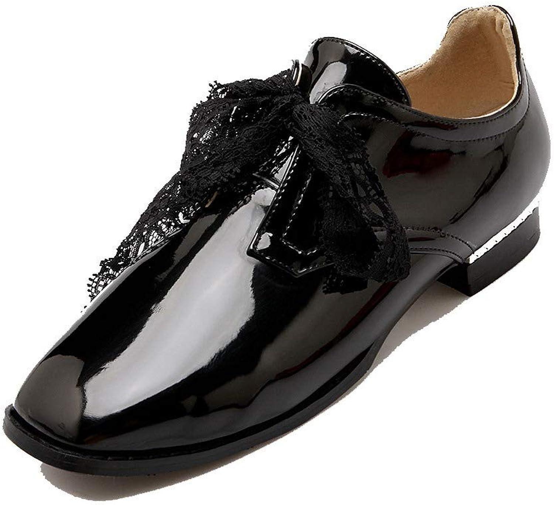 AllhqFashion Women's Solid Pu Low-Heels Lace-Up Square-Toe Pumps-shoes, FBUDC010499