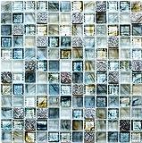 tessere di mosaico quadrato in vetro mosaico pietra naturale Crystal Tranparent Mix Cream Grigio Chiaro I 1arco