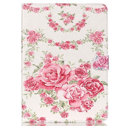 Felfy Kompatibel mit Hülle Samsung Galaxy Tab A 9.7 T550 T555 Lederhülle Ultra Slim Flip Case Tablet Leder Hülle Etui Cover Handytasche Schön Rosa Roses Blume Muster,EINWEG Verpackung