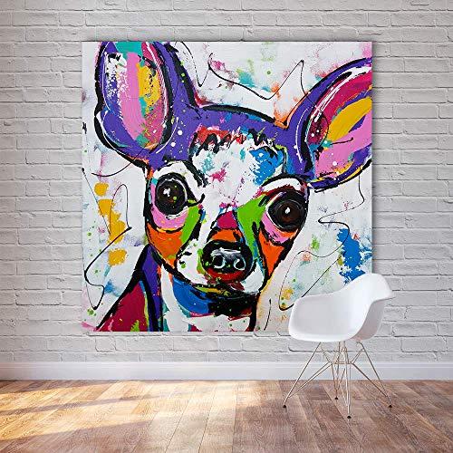 MumuXiDy Arte Abstracto Moderno de la Lona del Animal Chihuahua Perro Pop Art Cuadros de la Pared para la Sala de Estar decoración del hogar Pintura sin Marco