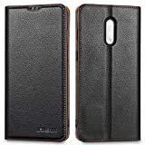 Lensun Oneplus 7 Leather Case, Flip Genuine Leather Phone