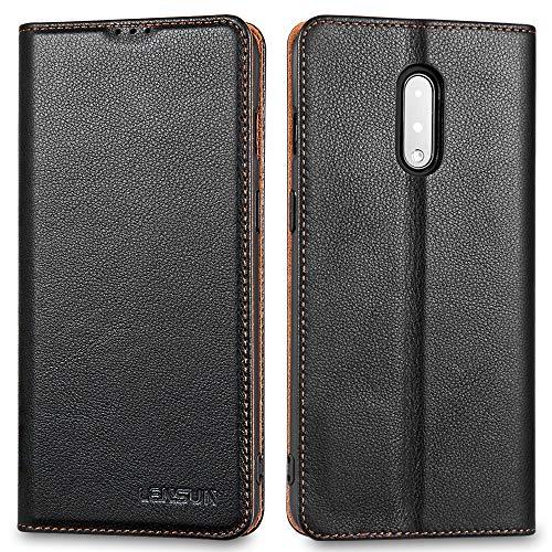 LENSUN Echtleder Hülle für OnePlus 7, Leder Handyhülle Magnetverschluss Kartenfach Handytasche kompatibel mit OnePlus 7 (6,41 Zoll) – Schwarz(I7-DC-BK)