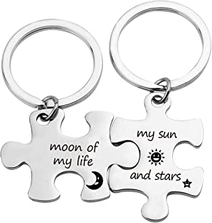 EIGSO Couples Puzzle Keychain Moon of My Life My Sun and Stars Keychain Game of Thrones Inspired Jewelry Dothraki Couple Keychain Valentines Gift