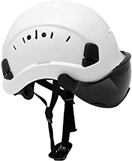 Safety Hard Hat Adjustable ABS Helmet 6-Point Suspension, Perfect for Work at-Height Riding, Climbing,Construction General Headwear Protection (Smoked visor)