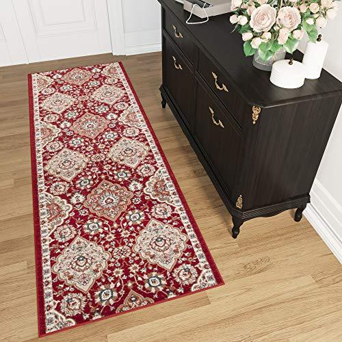 TAPISO Tappeto Passatoia Per Corridoio Orientale Colezione Dubai - Colore Rosso Crema Motivo Tradizionale Persiano - Migliore Qualità - Diverse Misure S-XXXL 120 x 350 cm