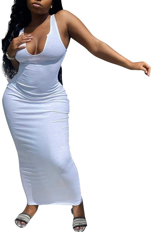 Women Summer Tank Maxi Dress - Casual Ribbed Scoop Neck Sleeveless Party Basic Sundress Long Bodycon Maternity Dresses