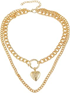 Dainty 2 Layer Gold Chain and Heart Love Pendant Necklace Jewelry for Women,One Order Includes 2PCS Cute Multilayer Necklaces