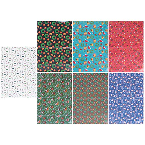 TomaiBaby 7 Stück Geschenkpapier Urlaub Thema Geschenkpaket Präsentiert Süßigkeiten Sammlung Packpapiere DIY Bundle für Weihnachten Festliche Weihnachtsfeier Lieferungen